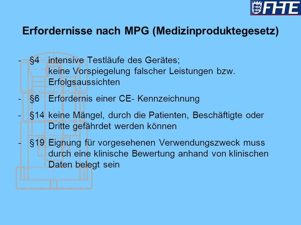 Erfordernisse nach MPG (Medizinproduktegesetz) -§4 intensive Testläufe des Gerätes; keine Vorspiegelung falscher Leistungen bzw. Erfolgsaussichten -§6