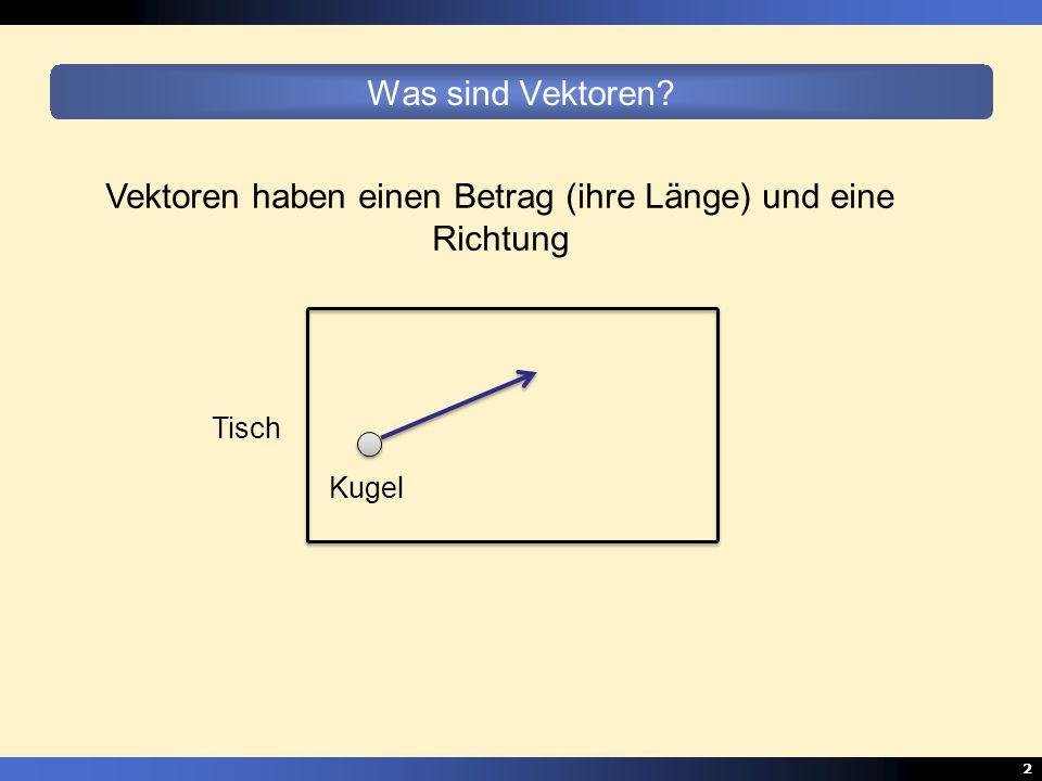 2 Was sind Vektoren? Vektoren haben einen Betrag (ihre Länge) und eine Richtung Tisch Kugel