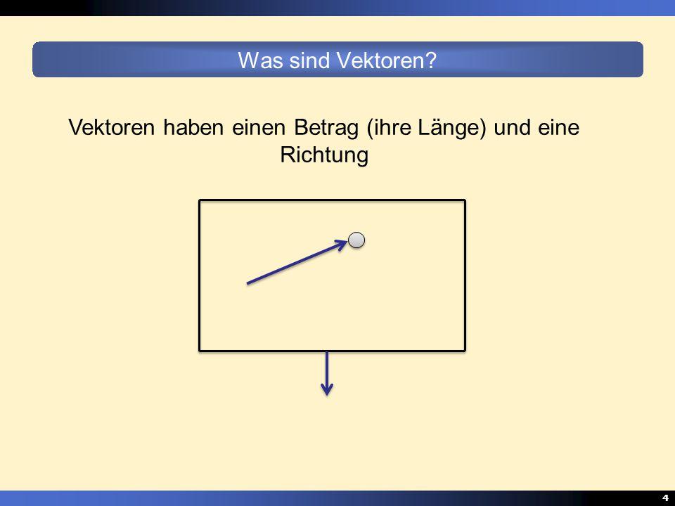 4 Was sind Vektoren? Vektoren haben einen Betrag (ihre Länge) und eine Richtung