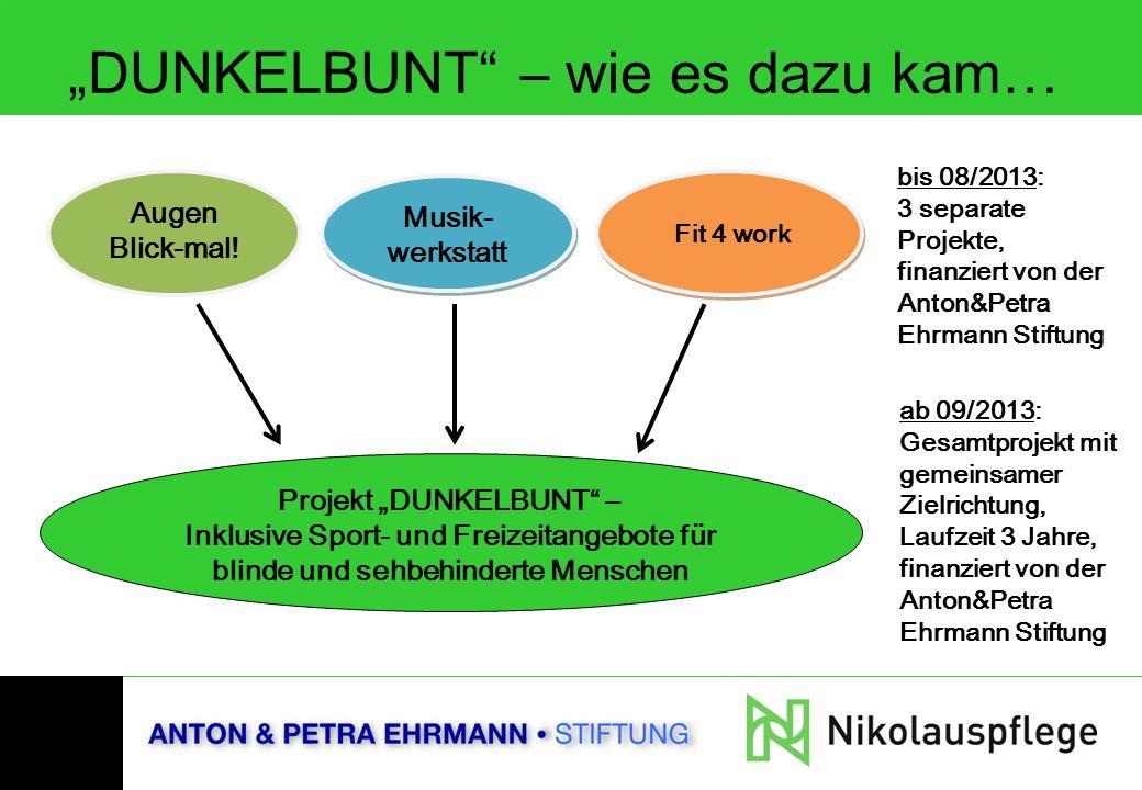 """""""DUNKELBUNT"""" – wie es dazu kam… Augen Blick-mal! Musik- werkstatt Fit 4 work bis 08/2013: 3 separate Projekte, finanziert von der Anton&Petra Ehrmann"""