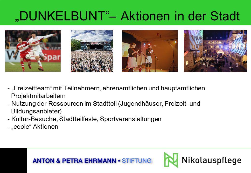 """""""DUNKELBUNT""""– Aktionen in der Stadt - """"Freizeitteam"""" mit Teilnehmern, ehrenamtlichen und hauptamtlichen Projektmitarbeitern - Nutzung der Ressourcen i"""