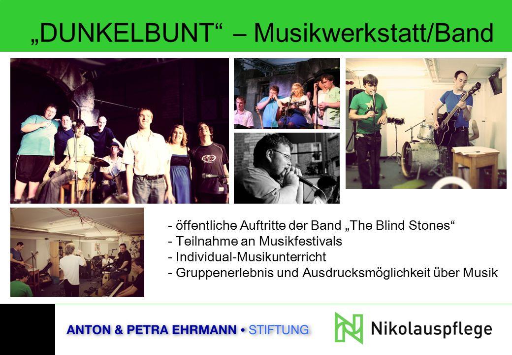 """""""DUNKELBUNT"""" – Musikwerkstatt/Band - öffentliche Auftritte der Band """"The Blind Stones"""" - Teilnahme an Musikfestivals - Individual-Musikunterricht - Gr"""