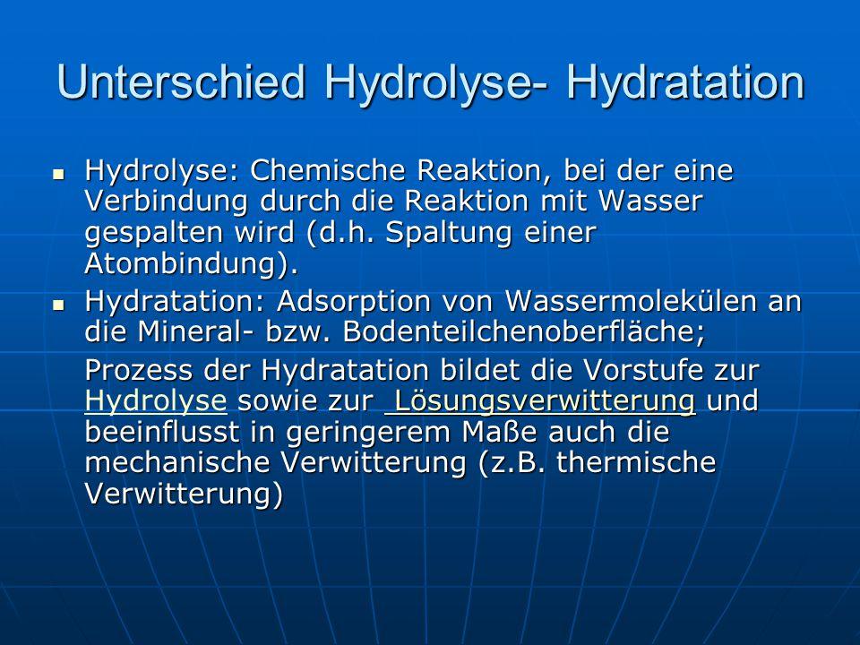 Unterschied Hydrolyse- Hydratation Hydrolyse: Chemische Reaktion, bei der eine Verbindung durch die Reaktion mit Wasser gespalten wird (d.h. Spaltung