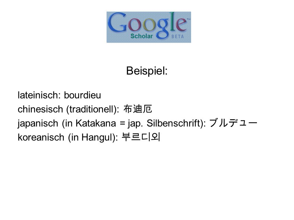Beispiel: lateinisch: bourdieu chinesisch (traditionell): 布迪厄 japanisch (in Katakana = jap. Silbenschrift): ブルデュー koreanisch (in Hangul): 부르디외