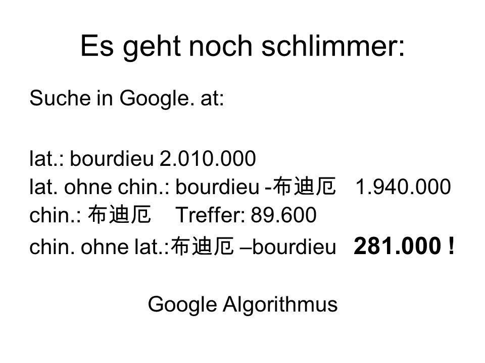 Es geht noch schlimmer: Suche in Google. at: lat.: bourdieu 2.010.000 lat. ohne chin.: bourdieu - 布迪厄 1.940.000 chin.: 布迪厄 Treffer: 89.600 chin. ohne