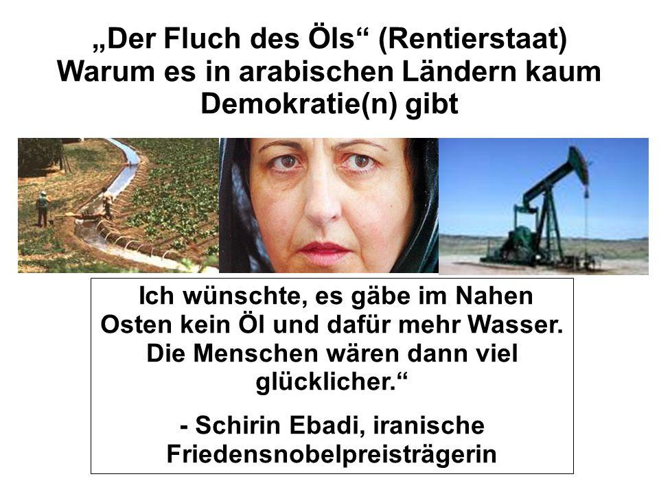 """No taxation, no representation… """"Der Fluch des Öls (Rentierstaat) Warum es in arabischen Ländern kaum Demokratie(n) gibt """" Ich wünschte, es gäbe im Nahen Osten kein Öl und dafür mehr Wasser."""