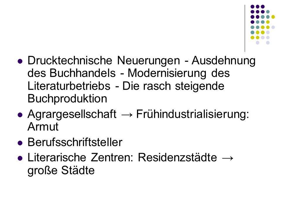 Drama Hauptgattung Theater – Mittelpunkt des öffentlichen Lebens Mangel an großen Dramatikern Abbau des Bildungstheaters < Vergnügungstheater Polarisierung zwischen Hoftheater und Volkstheater Wien – Theaterhauptstadt: Burgtheater vs.