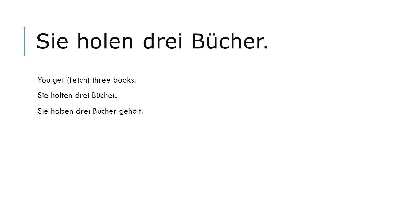 Sie holen drei Bücher. You get (fetch) three books. Sie holten drei Bücher. Sie haben drei Bücher geholt.