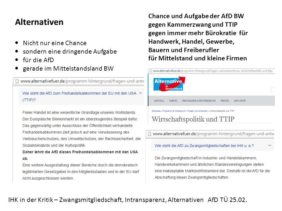 IHK in der Kritik – Zwangsmitgliedschaft, Intransparenz, Alternativen AfD TÜ 25.02.