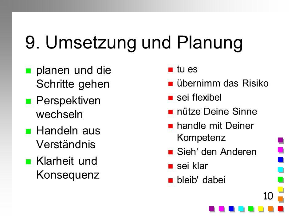 10 9. Umsetzung und Planung n planen und die Schritte gehen n Perspektiven wechseln n Handeln aus Verständnis n Klarheit und Konsequenz n tu es n über