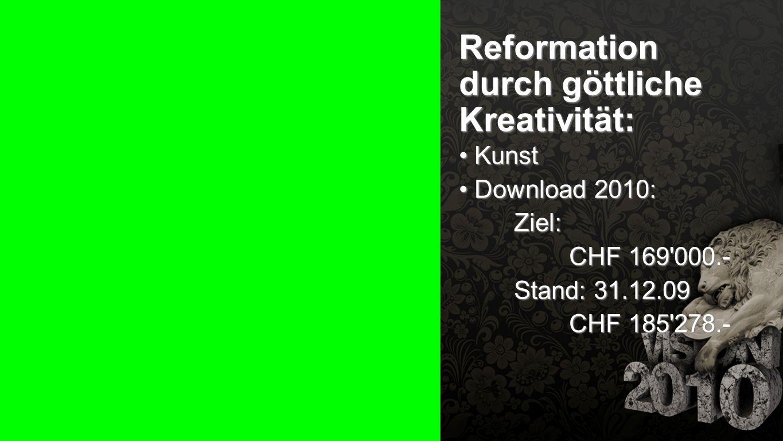 Seiteneinblender Reformation durch göttliche Kreativität: Kunst Kunst Download 2010: Download 2010: Ziel: CHF 169'000.- Stand: 31.12.09 CHF 185'278.-