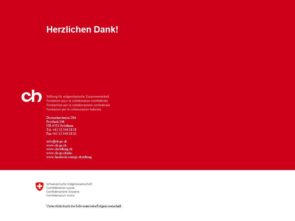 Dornacherstrasse 28A Postfach 246 CH-4501 Solothurn Tel. +41 32 346 18 18 Fax +41 32 346 18 02 Unterstützt durch die Schweizerische Eidgenossenschaft.