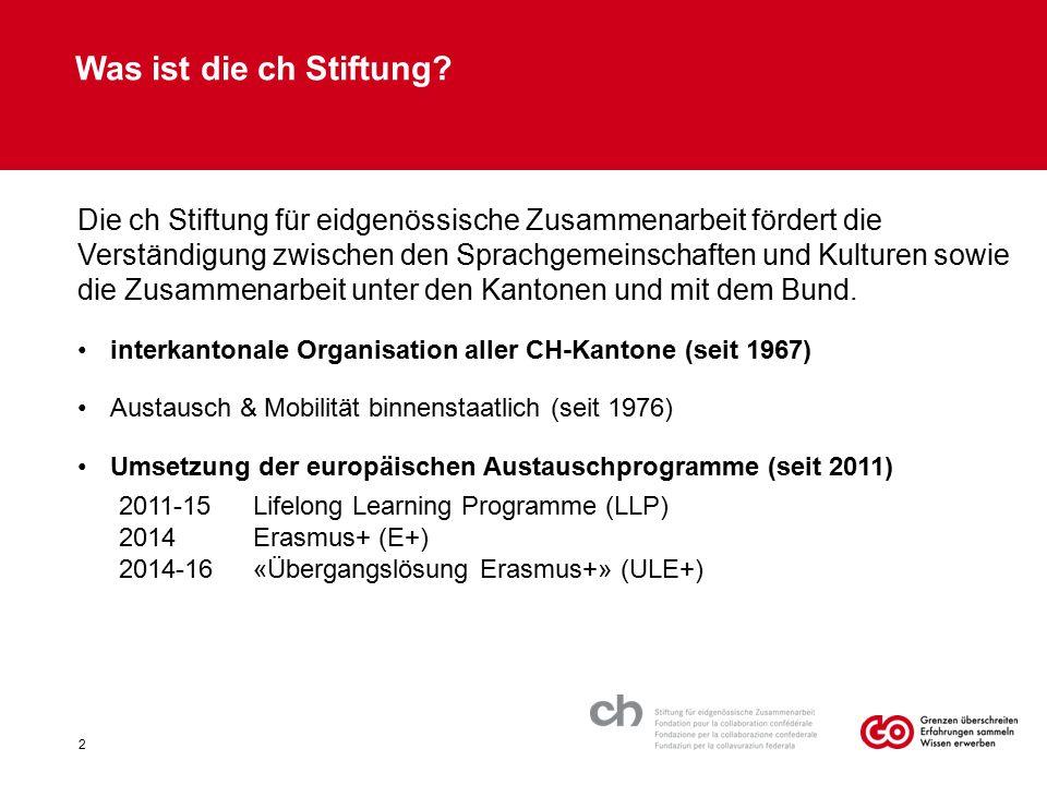 Was ist die ch Stiftung? Die ch Stiftung für eidgenössische Zusammenarbeit fördert die Verständigung zwischen den Sprachgemeinschaften und Kulturen so