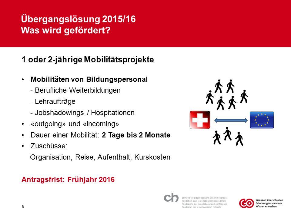 Übergangslösung 2015/16 Was wird gefördert? 1 oder 2-jährige Mobilitätsprojekte Mobilitäten von Bildungspersonal - Berufliche Weiterbildungen - Lehrau