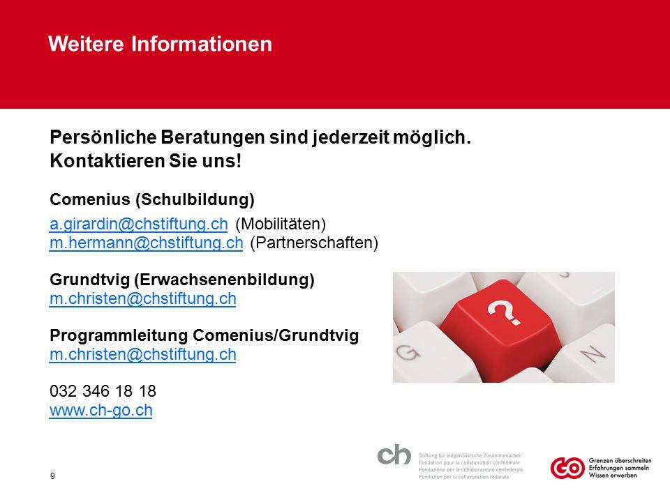 Weitere Informationen Persönliche Beratungen sind jederzeit möglich. Kontaktieren Sie uns! Comenius (Schulbildung) a.girardin@chstiftung.ch (Mobilität