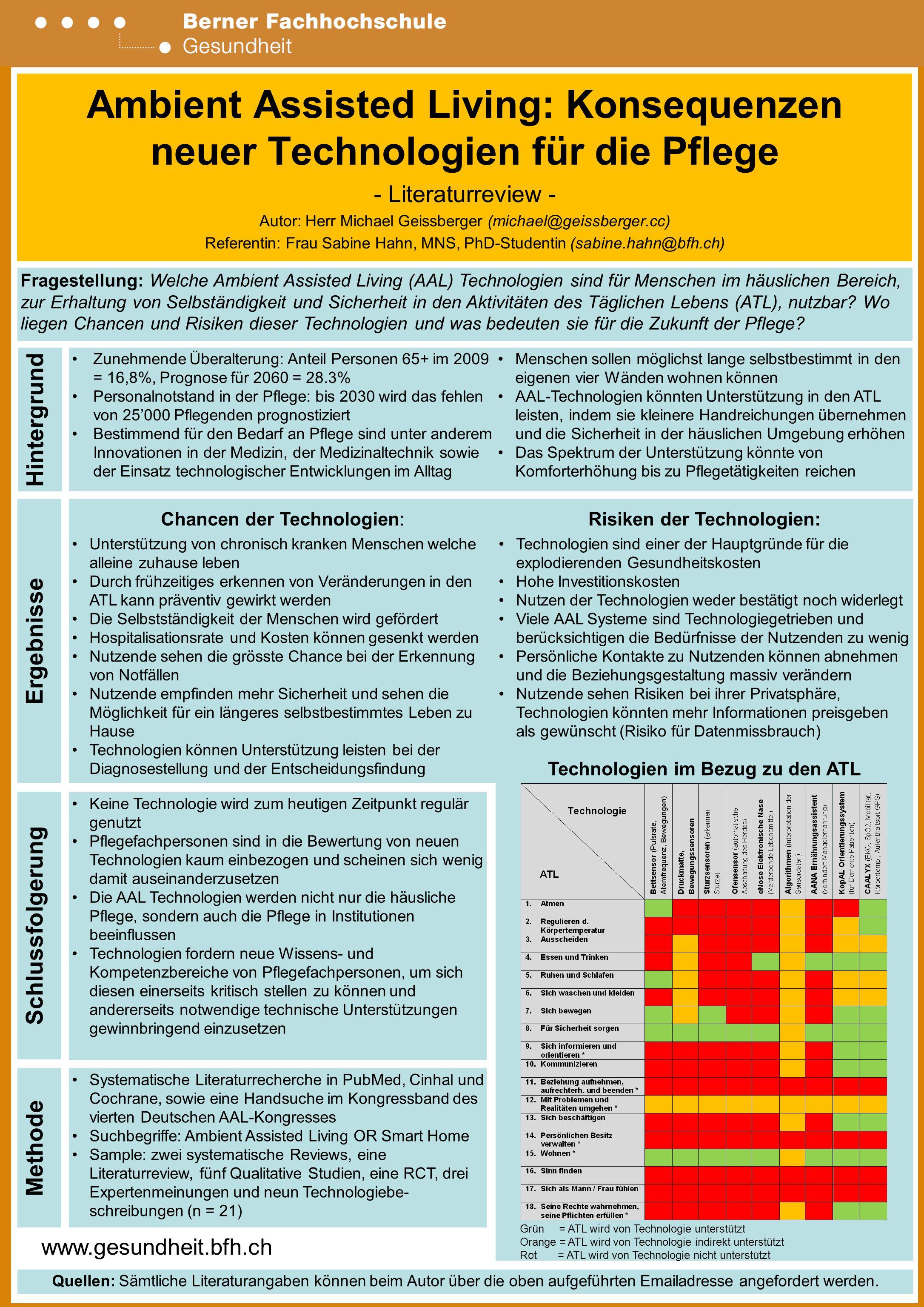 www.gesundheit.bfh.ch Ambient Assisted Living: Konsequenzen neuer Technologien für die Pflege - Literaturreview - Autor: Herr Michael Geissberger (michael@geissberger.cc) Referentin: Frau Sabine Hahn, MNS, PhD-Studentin (sabine.hahn@bfh.ch) Hintergrund Ergebnisse Schlussfolgerung Methode Zunehmende Überalterung: Anteil Personen 65+ im 2009 = 16,8%, Prognose für 2060 = 28.3% Personalnotstand in der Pflege: bis 2030 wird das fehlen von 25'000 Pflegenden prognostiziert Bestimmend für den Bedarf an Pflege sind unter anderem Innovationen in der Medizin, der Medizinaltechnik sowie der Einsatz technologischer Entwicklungen im Alltag Fragestellung: Welche Ambient Assisted Living (AAL) Technologien sind für Menschen im häuslichen Bereich, zur Erhaltung von Selbständigkeit und Sicherheit in den Aktivitäten des Täglichen Lebens (ATL), nutzbar.