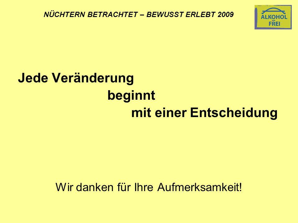 NÜCHTERN BETRACHTET – BEWUSST ERLEBT 2009 Jede Veränderung beginnt mit einer Entscheidung Wir danken für Ihre Aufmerksamkeit!