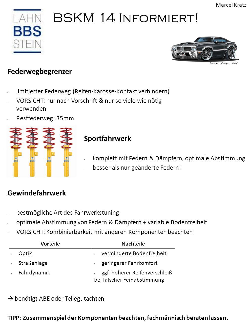 BSKM 14 Informiert! Federwegbegrenzer - limitierter Federweg (Reifen-Karosse-Kontakt verhindern) - VORSICHT: nur nach Vorschrift & nur so viele wie nö