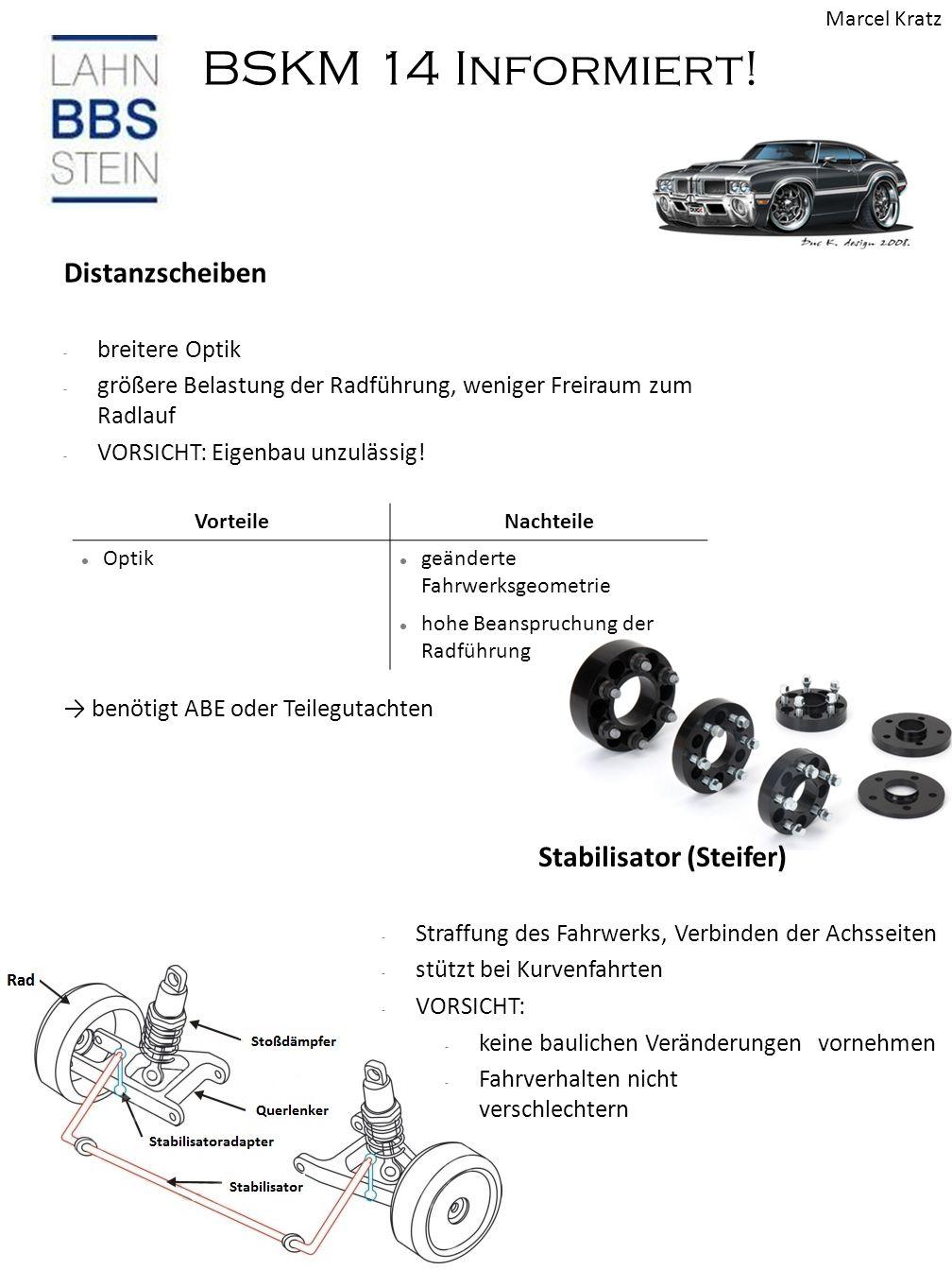 BSKM 14 Informiert! Distanzscheiben - breitere Optik - größere Belastung der Radführung, weniger Freiraum zum Radlauf - VORSICHT: Eigenbau unzulässig!