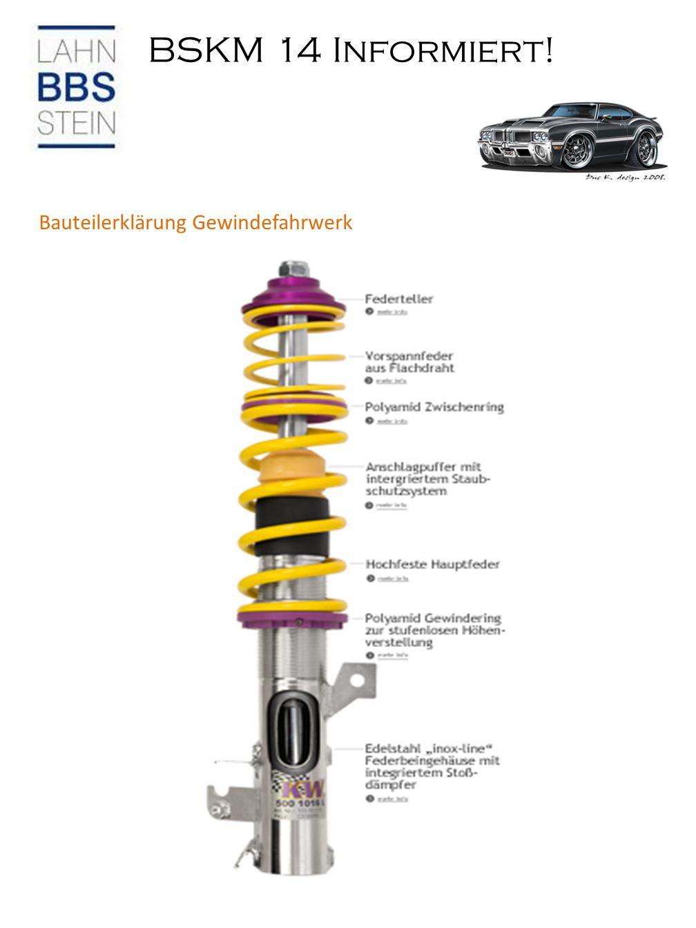 BSKM 14 Informiert! Bauteilerklärung Gewindefahrwerk