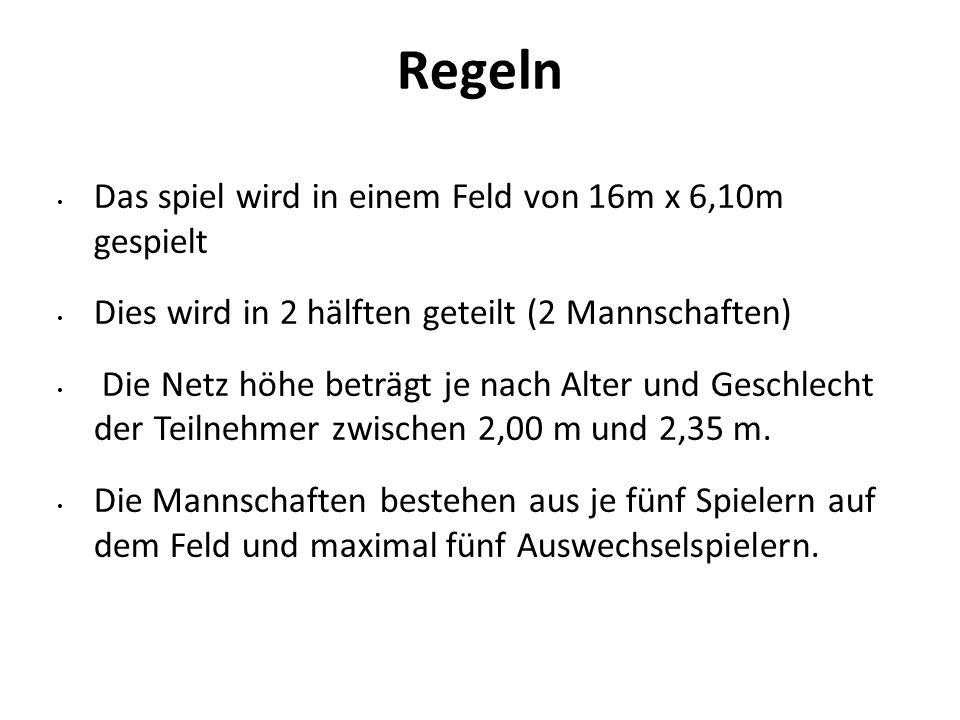 Regeln Das spiel wird in einem Feld von 16m x 6,10m gespielt Dies wird in 2 hälften geteilt (2 Mannschaften) Die Netz höhe beträgt je nach Alter und G