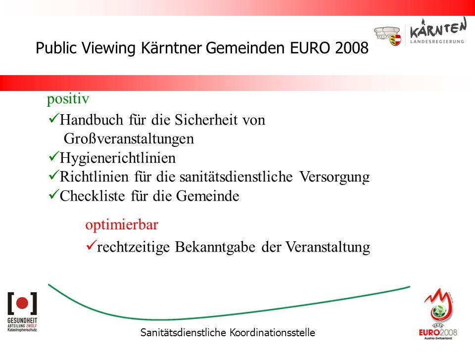 Sanitätsdienstliche Koordinationsstelle Public Viewing Kärntner Gemeinden EURO 2008 Handbuch für die Sicherheit von Großveranstaltungen Hygienerichtli
