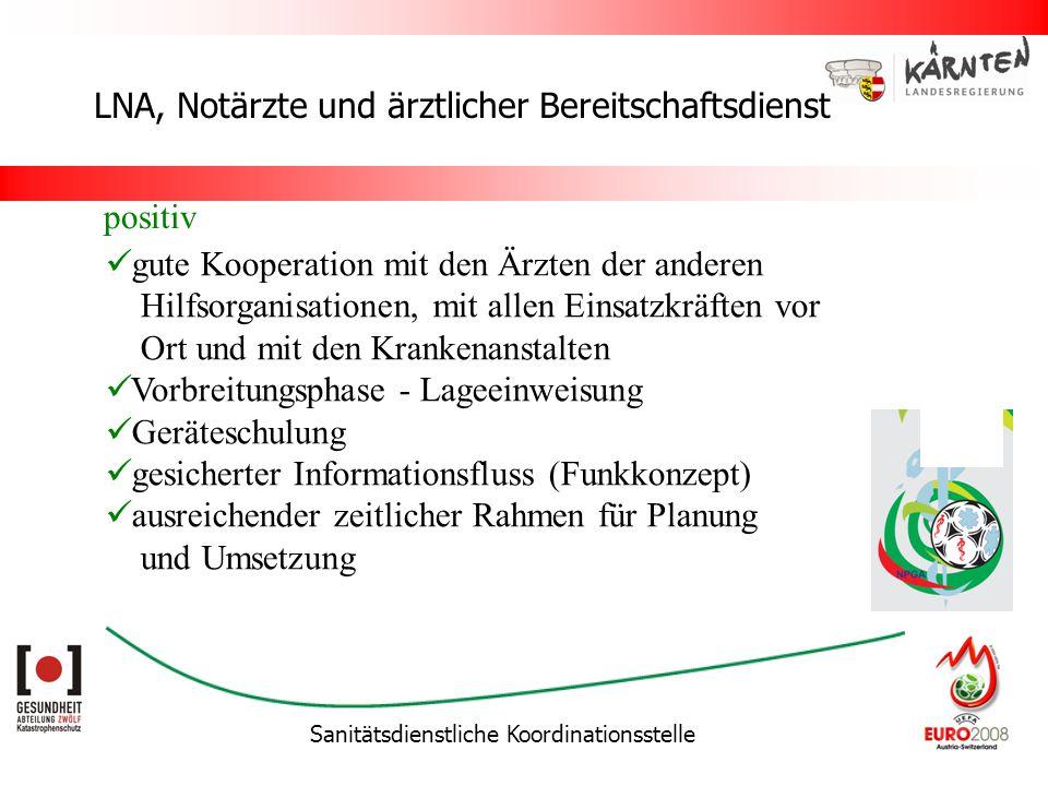 Sanitätsdienstliche Koordinationsstelle LNA, Notärzte und ärztlicher Bereitschaftsdienst gute Kooperation mit den Ärzten der anderen Hilfsorganisation
