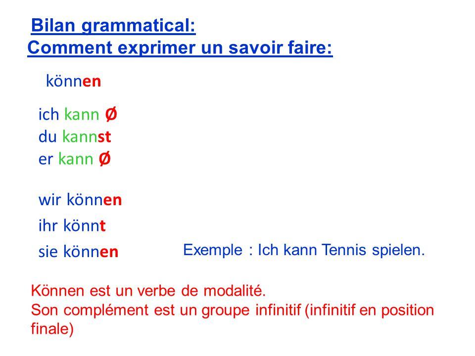 er kann Ø wir können Comment exprimer un savoir faire: du kannst ich kann Ø ihr könnt sie können Bilan grammatical: können Exemple : Ich kann Tennis spielen.