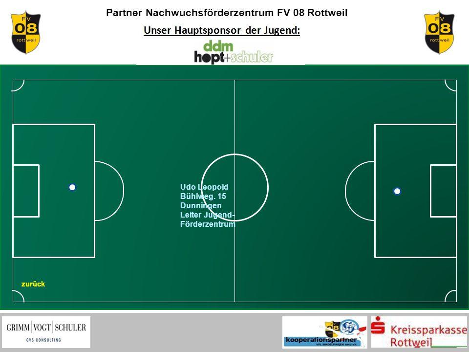 Partner Nachwuchsförderzentrum FV 08 Rottweil zurück Udo Leopold Bühlweg. 15 Dunningen Leiter Jugend- Förderzentrum