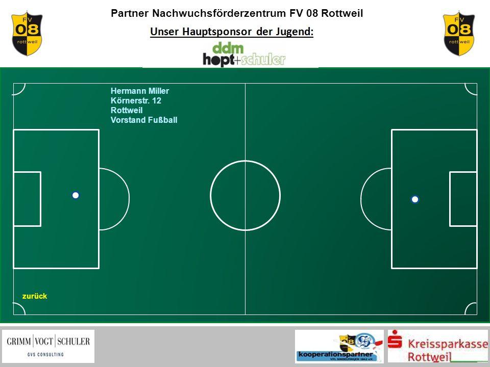 Partner Nachwuchsförderzentrum FV 08 Rottweil zurück Hermann Miller Körnerstr. 12 Rottweil Vorstand Fußball