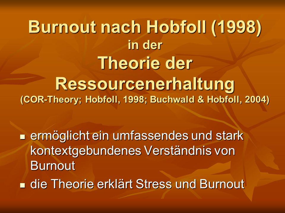 Burnout nach Hobfoll (1998) in der Theorie der Ressourcenerhaltung (COR-Theory; Hobfoll, 1998; Buchwald & Hobfoll, 2004) ermöglicht ein umfassendes und stark kontextgebundenes Verständnis von Burnout ermöglicht ein umfassendes und stark kontextgebundenes Verständnis von Burnout die Theorie erklärt Stress und Burnout die Theorie erklärt Stress und Burnout