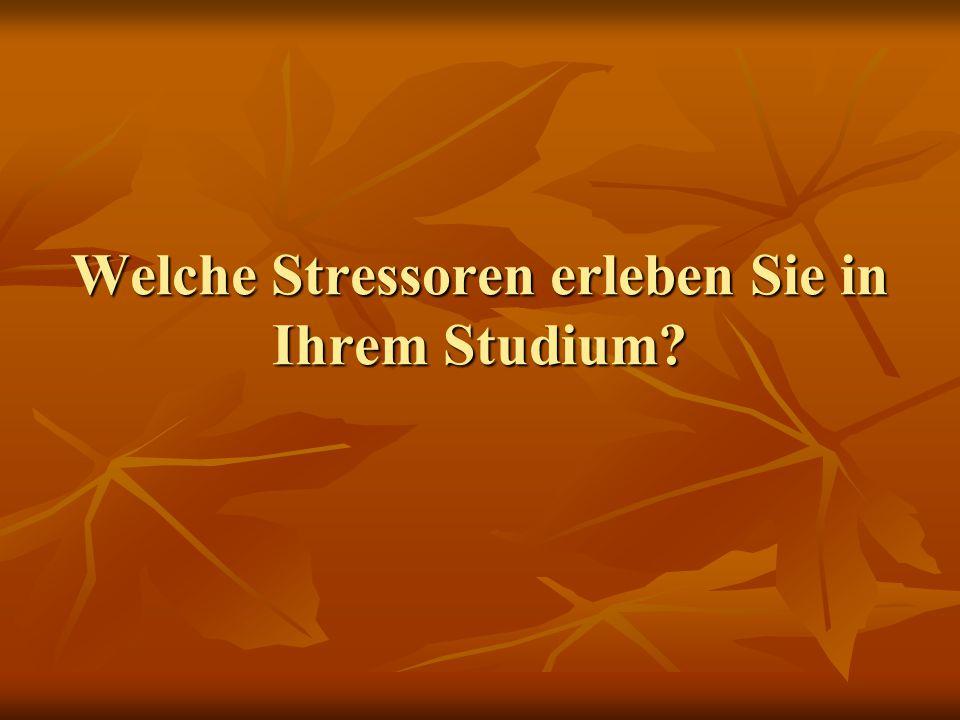 Welche Stressoren erleben Sie in Ihrem Studium?