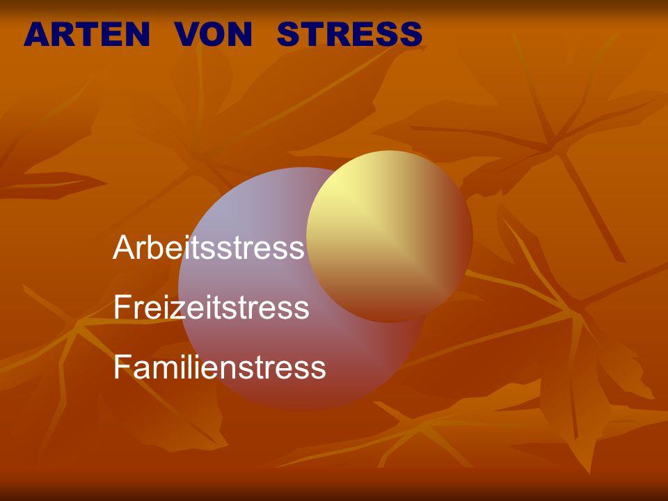 ARTEN VON STRESS Arbeitsstress Freizeitstress Familienstress