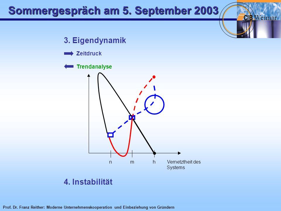 Sommergespräch am 5. September 2003 W eimar Netzwerk 3. Eigendynamik Zeitdruck Trendanalyse n m h Vernetztheit des Systems 4. Instabilität Prof. Dr. F