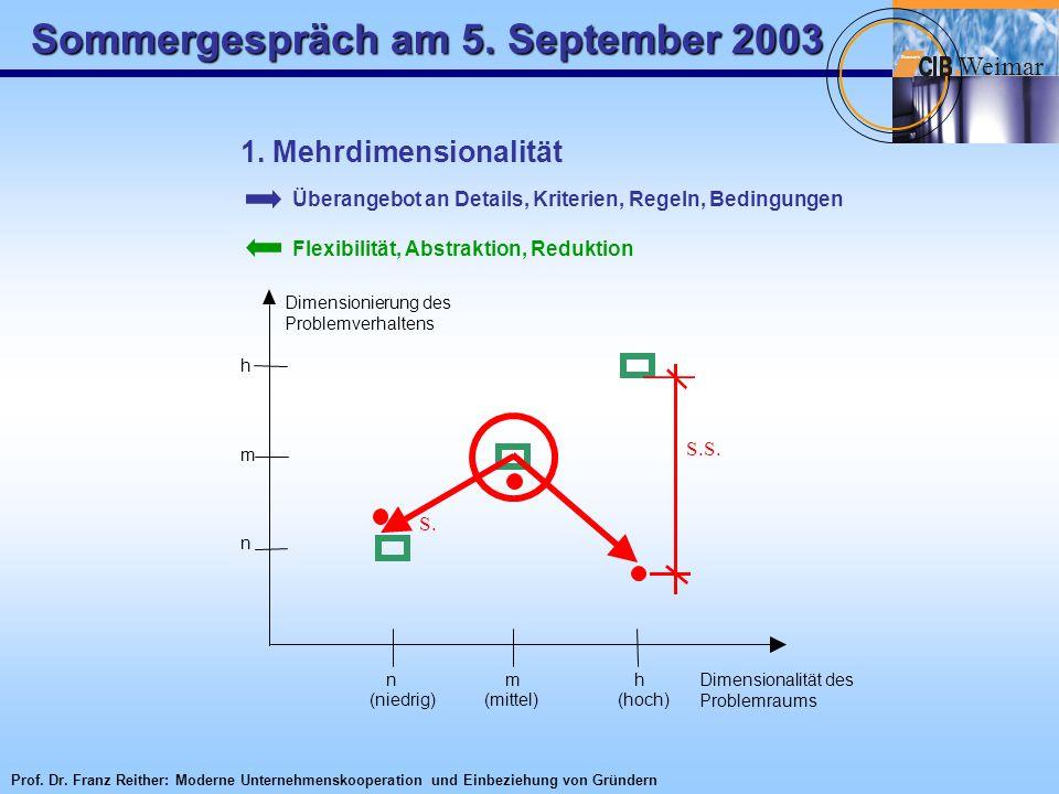 Sommergespräch am 5. September 2003 W eimar Netzwerk 1. Mehrdimensionalität Überangebot an Details, Kriterien, Regeln, Bedingungen Flexibilität, Abstr