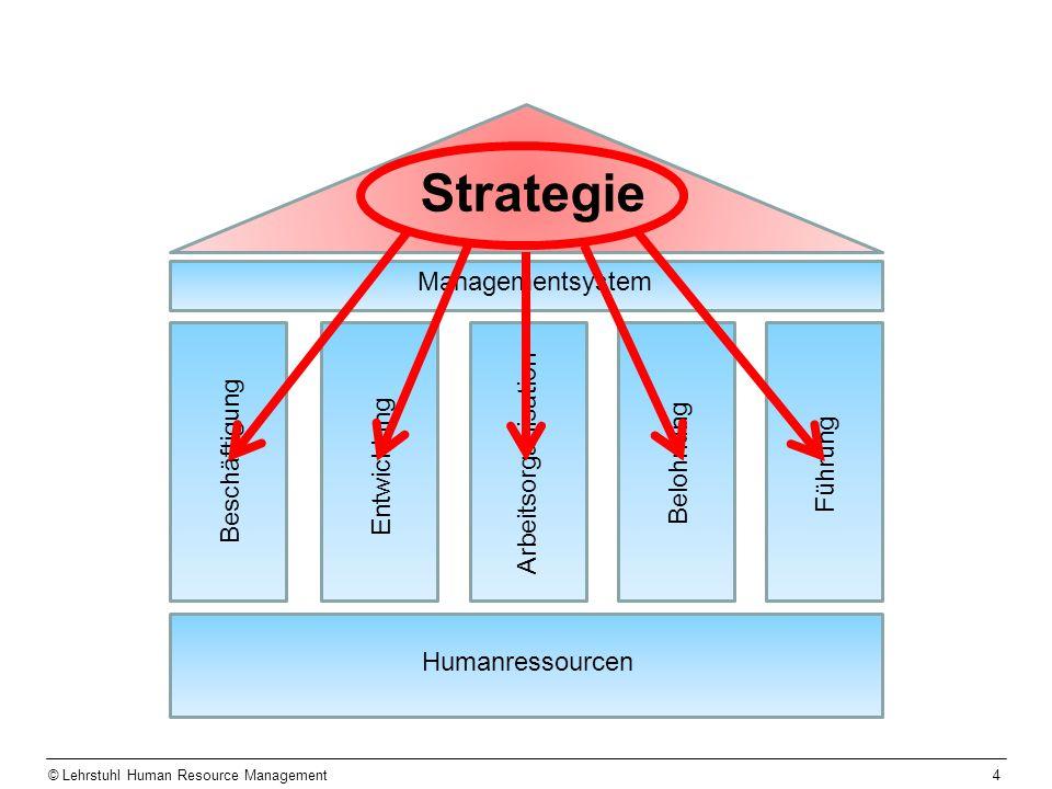 4 Humanressourcen Managementsystem Strategie Beschäftigung Entwicklung Belohnung Führung Arbeitsorganisation