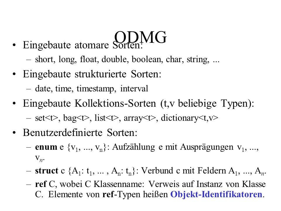 Polymorphes Typsystem für Objekte Strukturierte Objekttypen Date, Time, Timestamp, Interval Strukturierte Typkonstruktoren Obj ::= [sel:Typ,..., sel:Typ] Set ::= {Typ} Bag ::=  Typ  List ::= Datenbankspezifisch und entscheidend für die Skalierbarkeit: Extent-Konstruktor erlaubt es, sämtliche Objekte eines gegebenen Typs in einer eigenen Extension zu sammeln: Extension Extent ::= {Objekttyp}