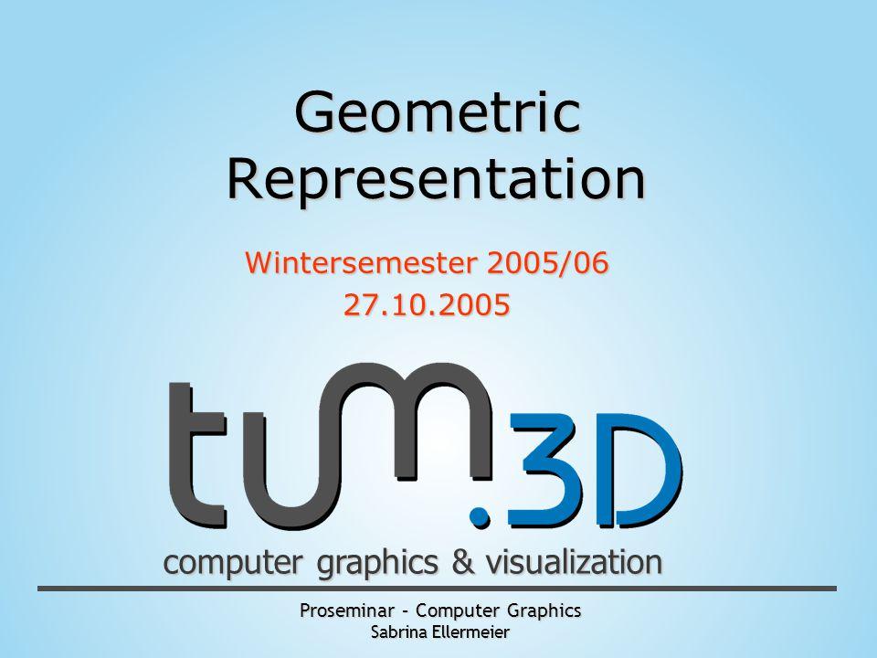 Proseminar – Computer Graphics Sabrina Ellermeier computer graphics & visualization Geometric Representation Wintersemester 2005/06 27.10.2005