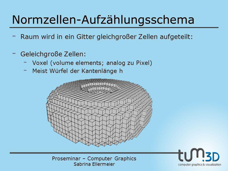 Proseminar – Computer Graphics Sabrina Ellermeier computer graphics & visualization Normzellen-Aufzählungsschema - Raum wird in ein Gitter gleichgroße