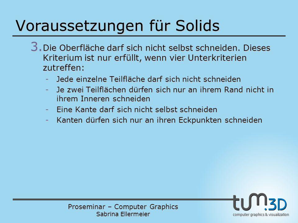 Proseminar – Computer Graphics Sabrina Ellermeier computer graphics & visualization Voraussetzungen für Solids 3. Die Oberfläche darf sich nicht selbs