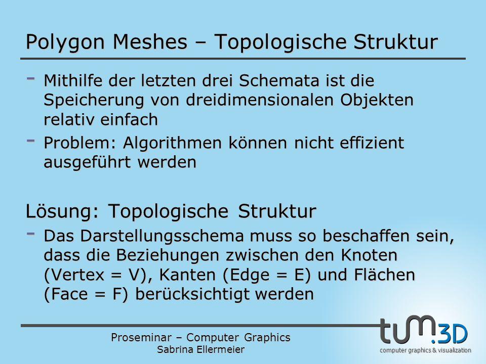 Proseminar – Computer Graphics Sabrina Ellermeier computer graphics & visualization Polygon Meshes – Topologische Struktur - Mithilfe der letzten drei