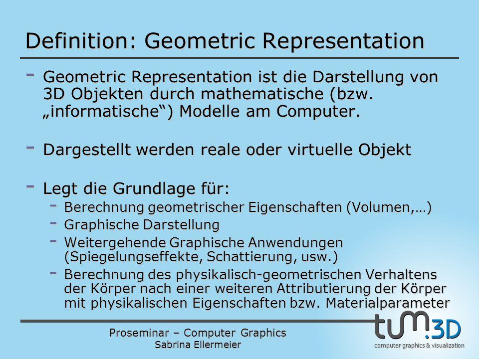 Proseminar – Computer Graphics Sabrina Ellermeier computer graphics & visualization Definition: Geometric Representation - Geometric Representation is