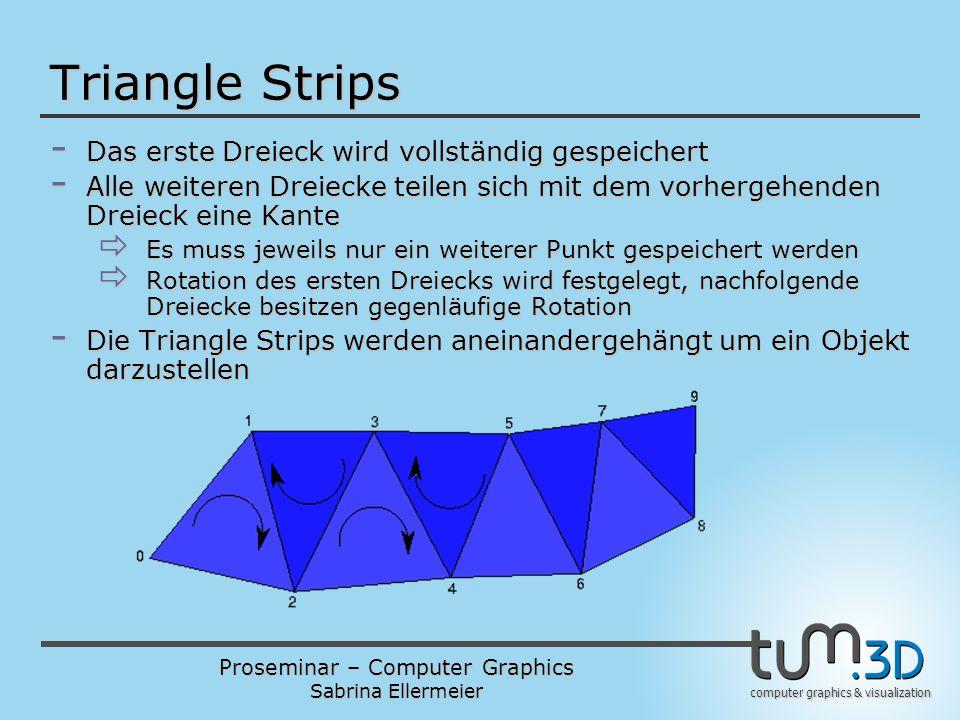 Proseminar – Computer Graphics Sabrina Ellermeier computer graphics & visualization Triangle Strips - Das erste Dreieck wird vollständig gespeichert - Alle weiteren Dreiecke teilen sich mit dem vorhergehenden Dreieck eine Kante  Es muss jeweils nur ein weiterer Punkt gespeichert werden  Rotation des ersten Dreiecks wird festgelegt, nachfolgende Dreiecke besitzen gegenläufige Rotation - Die Triangle Strips werden aneinandergehängt um ein Objekt darzustellen
