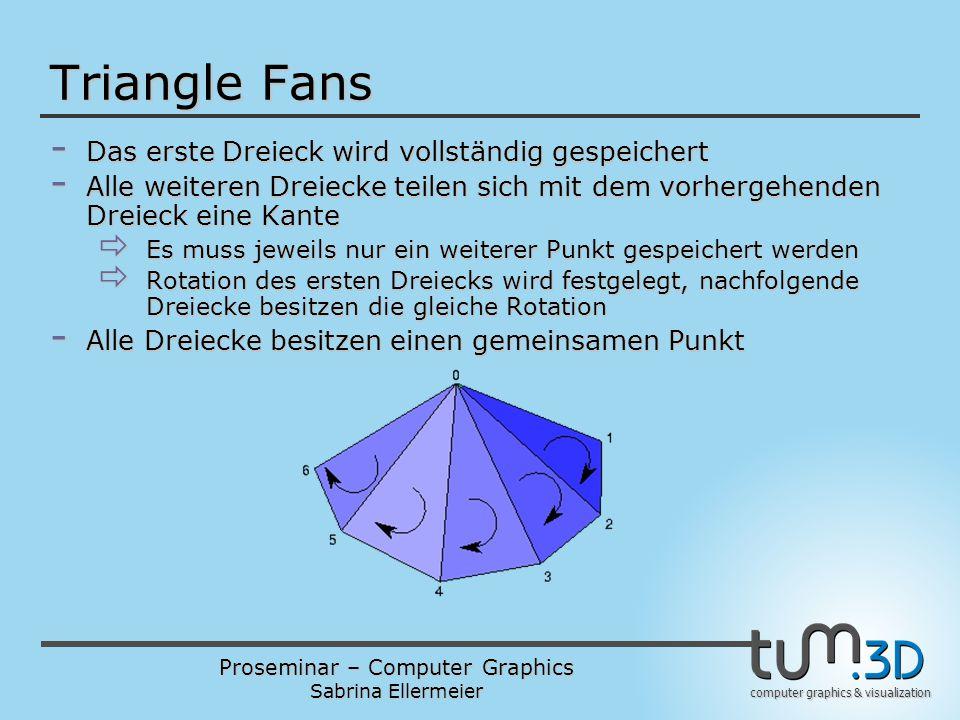 Proseminar – Computer Graphics Sabrina Ellermeier computer graphics & visualization Triangle Fans - Das erste Dreieck wird vollständig gespeichert - Alle weiteren Dreiecke teilen sich mit dem vorhergehenden Dreieck eine Kante  Es muss jeweils nur ein weiterer Punkt gespeichert werden  Rotation des ersten Dreiecks wird festgelegt, nachfolgende Dreiecke besitzen die gleiche Rotation - Alle Dreiecke besitzen einen gemeinsamen Punkt