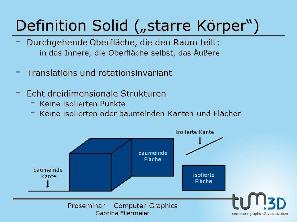 """Proseminar – Computer Graphics Sabrina Ellermeier computer graphics & visualization Definition Solid (""""starre Körper"""") - Durchgehende Oberfläche, die"""