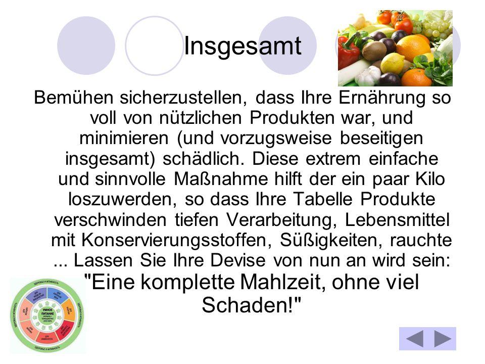 Insgesamt Bemühen sicherzustellen, dass Ihre Ernährung so voll von nützlichen Produkten war, und minimieren (und vorzugsweise beseitigen insgesamt) schädlich.