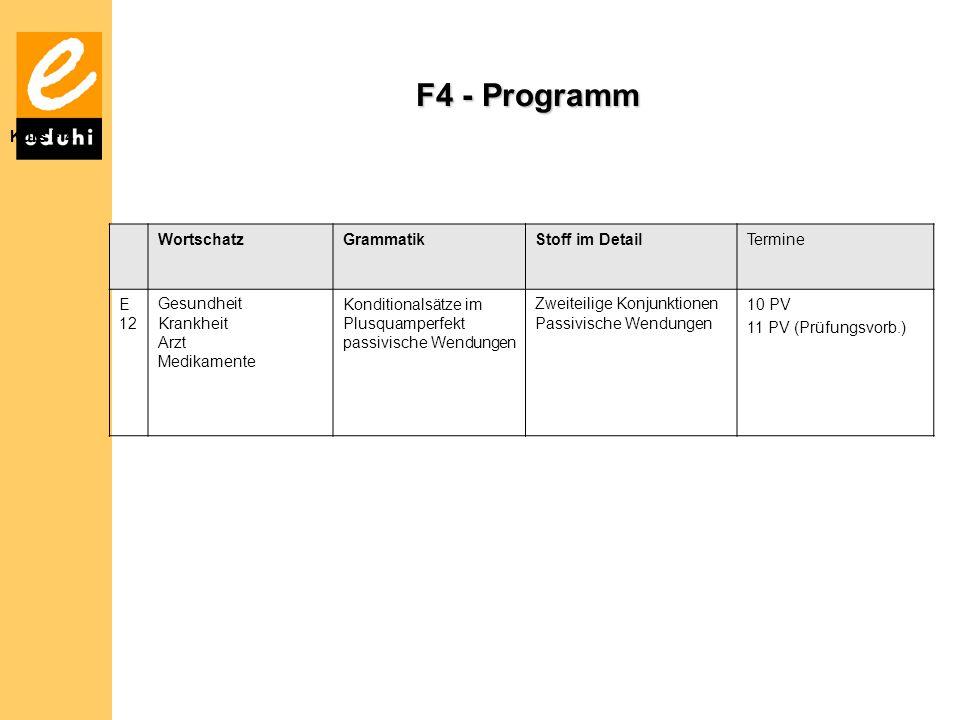 F4 - Programm Kurs F 4 WortschatzGrammatikStoff im DetailTermine E 12 Gesundheit Krankheit Arzt Medikamente Konditionalsätze im Plusquamperfekt passiv