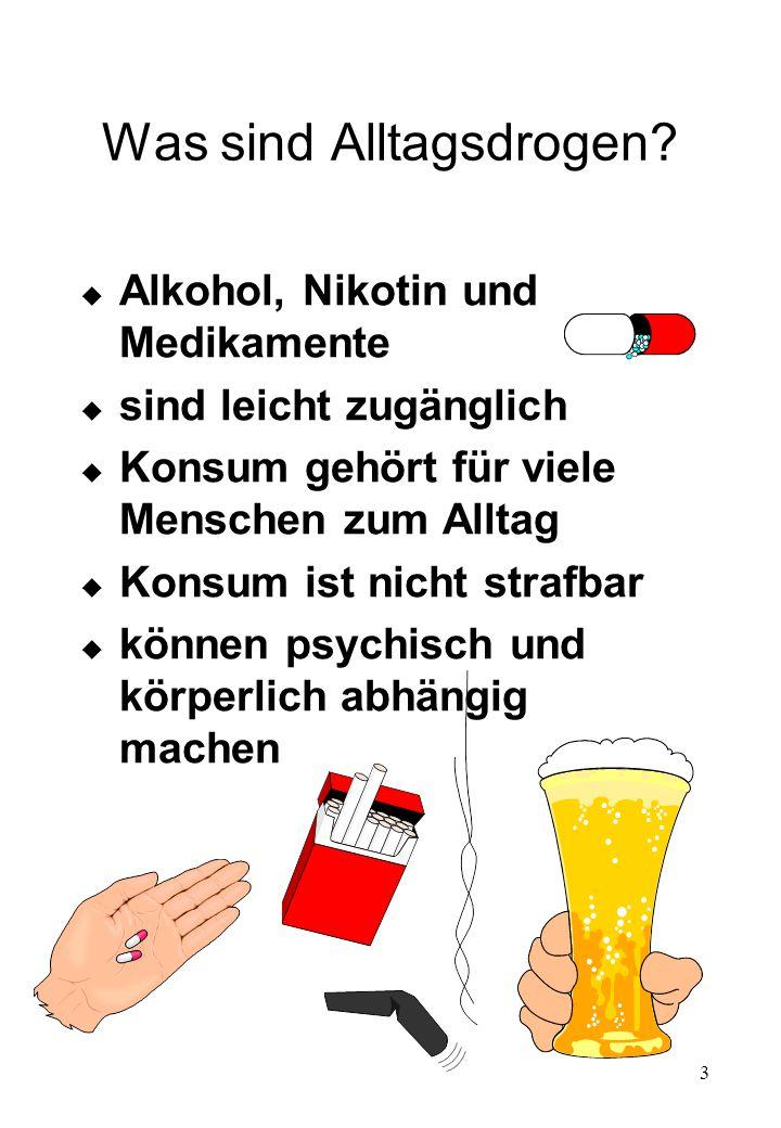 3 Was sind Alltagsdrogen? u Alkohol, Nikotin und Medikamente u sind leicht zugänglich u Konsum gehört für viele Menschen zum Alltag u Konsum ist nicht