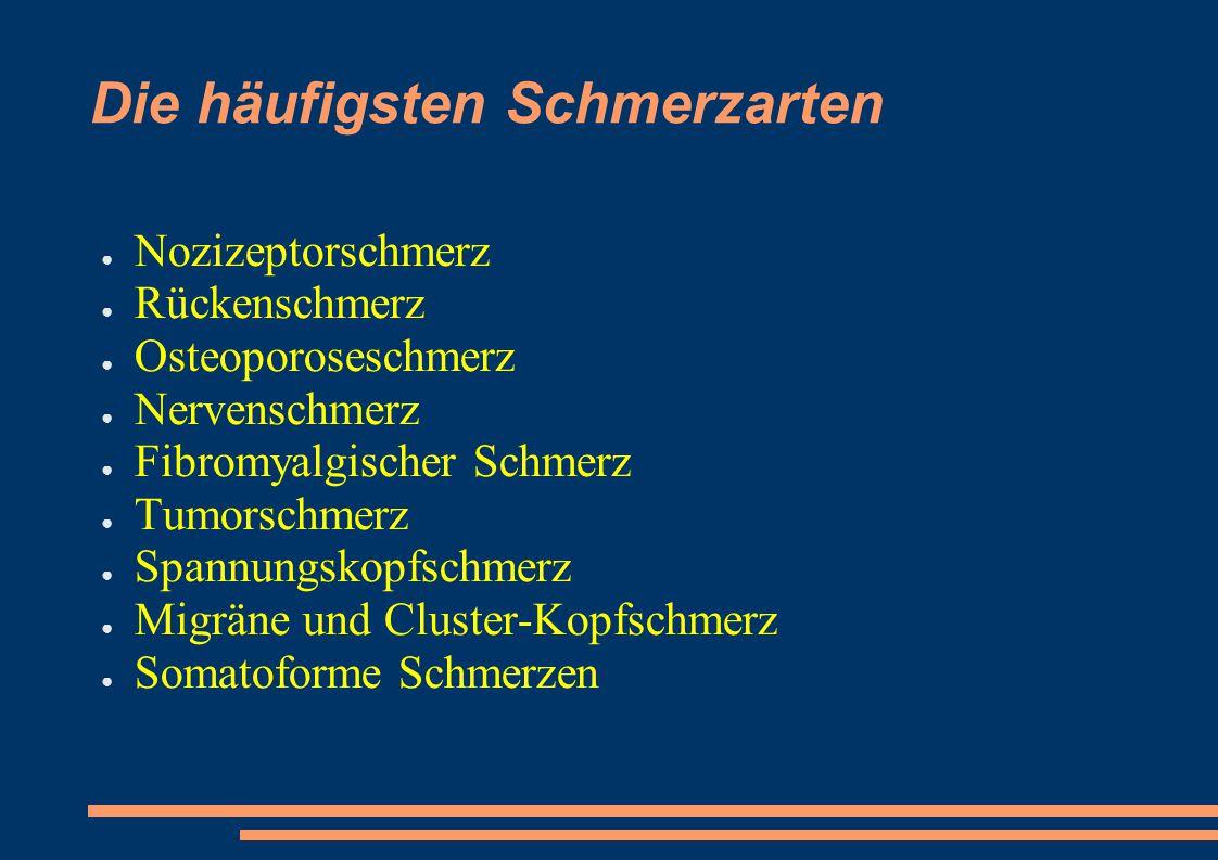 Die häufigsten Schmerzarten ● Nozizeptorschmerz ● Rückenschmerz ● Osteoporoseschmerz ● Nervenschmerz ● Fibromyalgischer Schmerz ● Tumorschmerz ● Spann