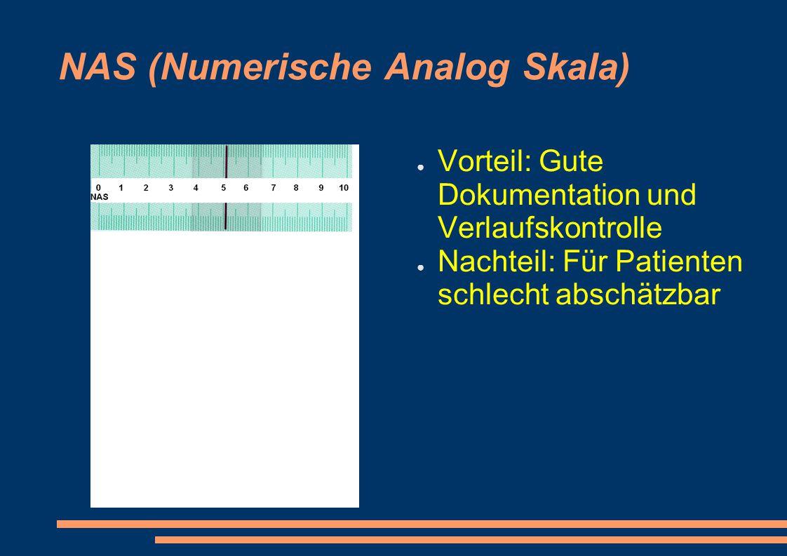 NAS (Numerische Analog Skala) ● Vorteil: Gute Dokumentation und Verlaufskontrolle ● Nachteil: Für Patienten schlecht abschätzbar